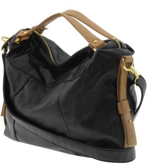 replico hermes - Street Level Black & Tan Cross Body Bag